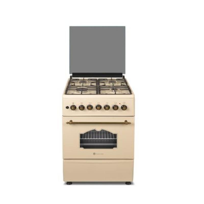 Aragaz rustic mixt Studio Casa Alma Retro 57/57 cm, 4 arzatoare gaz, Cuptor electric, Rotisor, Ventilator, Aprindere electrica, Beige