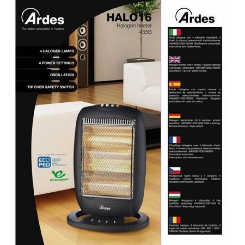 Radiator cu halogen Ardes AR455B, 1600W , 4 trepte incalzire, Oscilare, Negru
