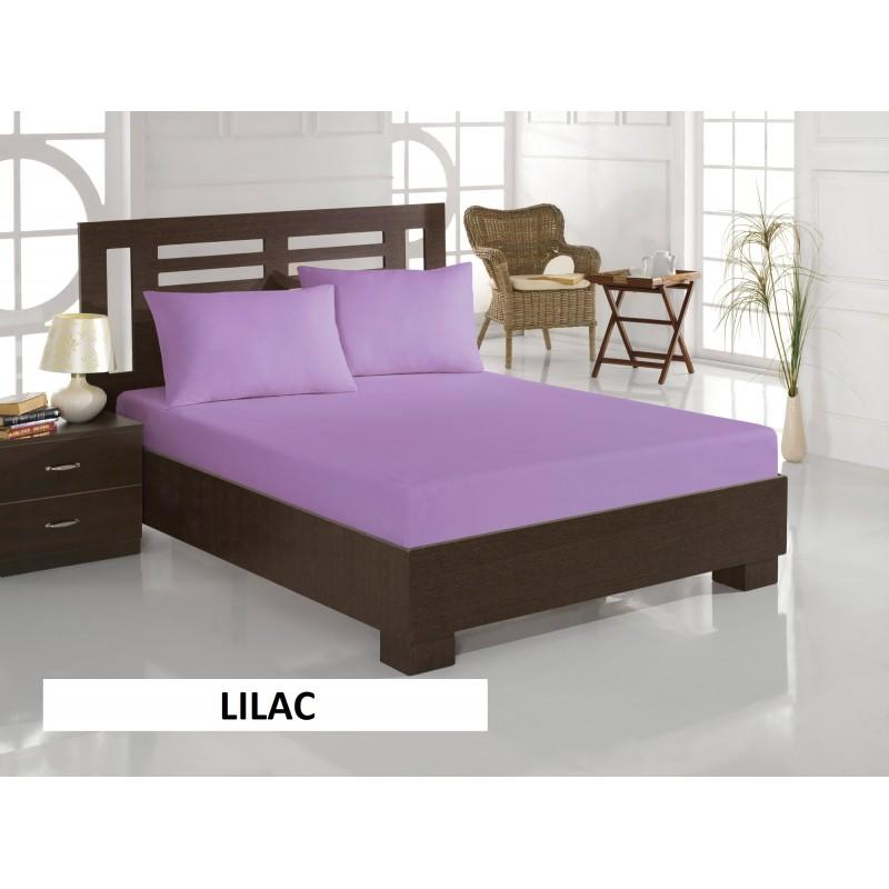 Pachet de 2 set-uri de 3 piese YUNY Mally Home, 100% Bumbac, Cearceaf pat dublu cu elastic 160x200 cm si doua fete de perna 50x70cm lila + verde
