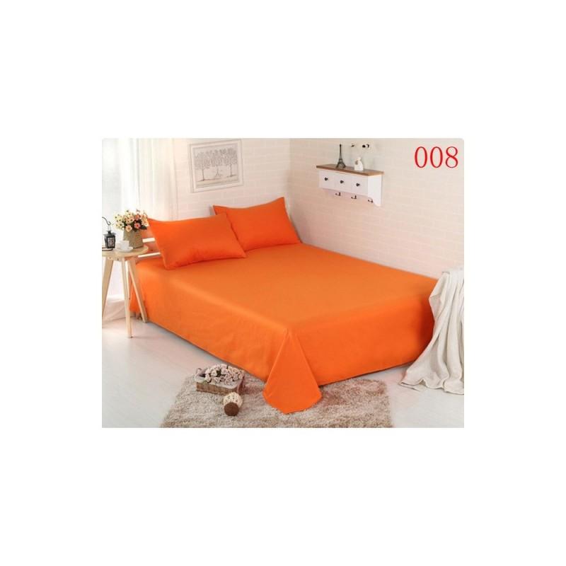 Pachet de 2 set-uri de 3 piese YUNY Mally Home, 100% Bumbac, Cearceaf pat dublu cu elastic 160x200 cm si doua fete de perna 50x70cm orange + verde