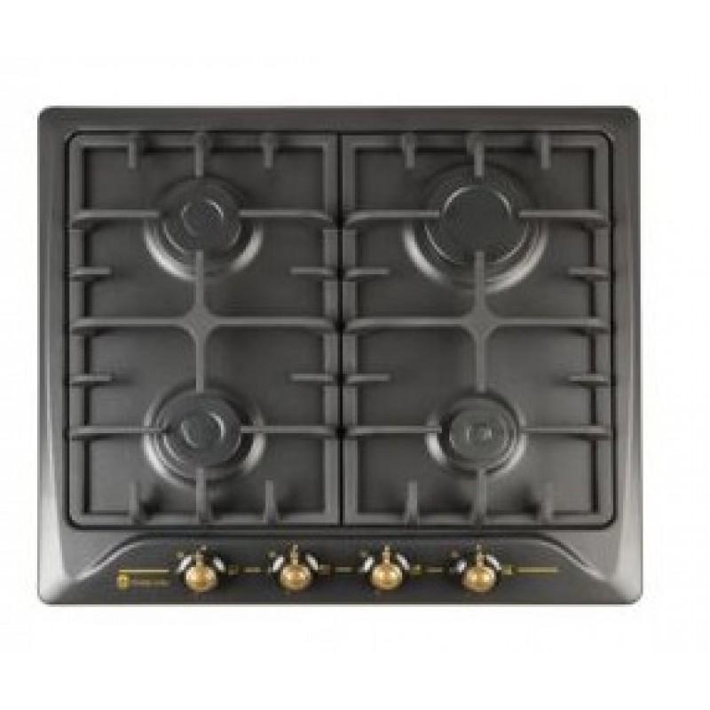 Plita incorporabila Studio Casa PG660 Toscana Black, 4 arzatoare gaz, Gratare fonta, Aprindere electrica, Valve de siguranta, Negru